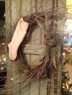 """I would probably even not put the white stocking on it, and make it VERY Prim! Making these for Christmas! From """"The Old Granary"""" in Quincy Mi Primitive Christmas Decorating, Burlap Christmas, Country Christmas, Winter Christmas, Vintage Christmas, Christmas Holidays, Primitive Wreath, Primitive Crafts, Primitive Sheep"""