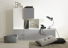 Tetris with white, grey felt and gray stained doors.