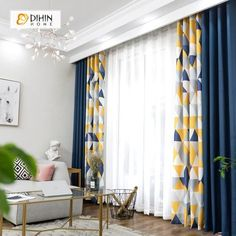 DIHIN HOME Neat Triangle Printed Blackout Grommet Window Curtain for Living Room 1 Panel curtain dihin grommet home living neat panel printedblackout room triangle window Living Room Decor Curtains, Home Curtains, Modern Curtains, Living Room Windows, Living Room Interior, Home Interior, Home Living Room, Living Room Designs, Interior Design