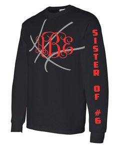 Basketball Sister Long Sleeve Shirt Monogram by VinylDezignz