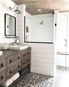 55 modern farmhouse master bathroom renovation ideas the process & reveal 35 Bathroom Bathroom Renos, White Bathroom, Bathroom Renovations, Small Bathroom, Home Remodeling, Bathroom Ideas, Bathroom Updates, Bathroom Organization, Bathroom Mirrors