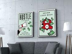 Monopoly wall art / monopoly art / Monopoly Print / Monopoly Artwork / Canvas wall art / Hustle art - My WordPress Website Nursery Canvas, Diy Canvas Art, Canvas Artwork, Canvas Art Prints, Canvas Frame, Canvas Wall Art, Art Mur, Hanging Canvas, Pop Culture Art