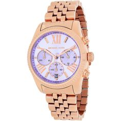 Michael Kors Women's MK6207 'Lexington' Chronograph Rose-Tone... ($230) ❤ liked on Polyvore featuring jewelry, watches, michael kors jewelry, stainless steel jewelry, bracelet watches, american watches and michael kors watches