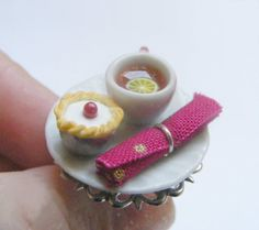 Food Jewelry Tea and Bakewell Tart Ting Tea and cake by NeatEats