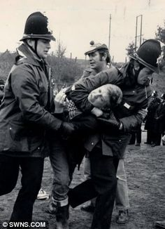 Strikers. A 1984 photo showing Thatcher's police stormtroopers taking action as violence flares with miners at Daw Mill colliery in Warwickshire.
