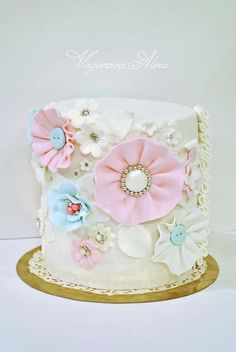 Little cute cake by Vaganova Alina - shabby chic fabric fondant flowers buttons