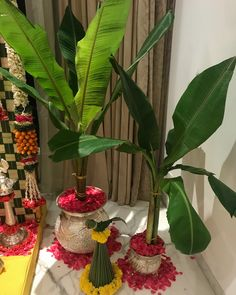 India, Pooja, Festivals Decor, Kel leaves very Auspicious, Diwali Decorations At Home, Wedding Stage Decorations, Backdrop Decorations, Festival Decorations, Flower Decorations, Tulle Backdrop, Backdrops, Gauri Decoration, Decoration For Ganpati