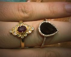 #karkazian #jewelers in #fresno and #clovis #gold #ruby #vintage #14k #ring I bought over 30 years old. Right next to our #gpanther #stylish #rosegold #diamond and #chocolate #stone ring