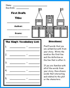 Castle Book Report Project: templates, worksheets, grading rubric and banner.