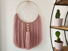Pink macrame wall hanging Home accessory with natural wooden beads and handmade tassel, A. : Pink macrame wall hanging Home accessory with natural wooden beads and handmade tassel, Accessory beads handmade Hanging home homeaccessoriesnames Macramé Macrame Wall Hanging Diy, Macrame Design, Macrame Patterns, Boho Diy, Wooden Beads, Dusty Pink, Etsy, Tassels, Decoration