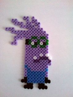 Purple Evil Despicable me 2 Minion hama perler beads magnet by akashalondon