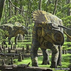 from Wired Science Bizarre Horn-Faced Dinosaur Discovered in Utah Nasutoceratops titusi in the Late Cretaceous forests of the Kaiparowits Formation. Prehistoric Dinosaurs, Dinosaur Fossils, Dinosaur Art, Prehistoric Creatures, Prehistoric Wildlife, Dinosaur Crafts, Jurassic World, Jurassic Park, Reptiles