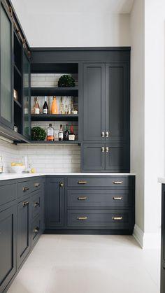 Kitchen Room Design, Kitchen Cabinet Design, Kitchen Redo, Modern Kitchen Design, Home Decor Kitchen, Kitchen Interior, Kitchen Remodel, Black Kitchen Paint, Blue Kitchen Ideas