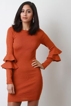 This knitted sweater dress features a sculpture bodycon fit, round neckline, long sleeves with double trumpet tier at quarter sleeves, and mini length hem.Measurement Size Bust Waist Hip Length Sleeve S 24 19 26 21 M 26 21 28 L 28 23 30 Midi Cocktail Dress, Knit Sweater Dress, Quarter Sleeve, Desi, Bodycon Dress, High Neck Dress, Long Sleeve, Sleeves, Sweaters