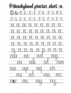This is a downloadable brush calligraphy practice guide for the letter a! It includes a stroke-by-stroke breakdown and single letter practice, as