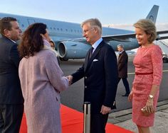 Queen Mathilde and King Philippe of Belgium pictured during the departure of the Belgian Royals for a state visit to Japan, Sunday 09 October 2016, at Melsbroek airport in Brussels.
