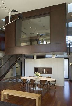 A glass room above