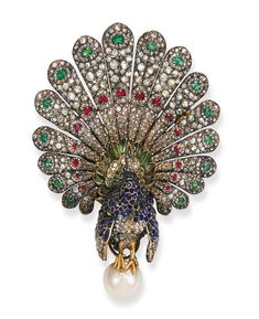 A fine antique gem-set peacock brooch, by Gustave Baugrand. Designed as a sapphire, emerald, old and rose-cut diamond peacock with cabochon ruby eyes to the slightly articulated fanned tail feathers with heart-shaped ruby and emerald detail, perched on a button-shaped pearl, mounted in silver and gold, circa 1865.
