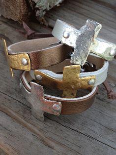 Designer Cross Leather Bracelet