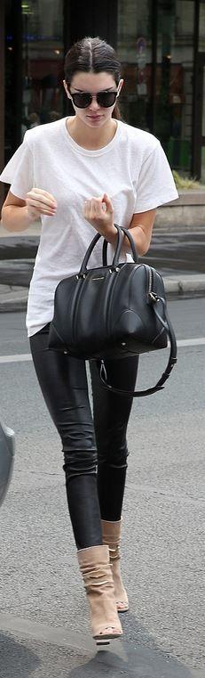 Kendall Jenner: Purse – Givenchy  Pants – Balenciaga  Shoes – Jimmy Choo