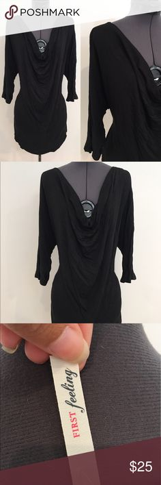 """Plus Size Black ¾ Sleeve Cowl Neck Shirt B0102 2X: length 32 """", from the lowest part of cleavage in front to bottom 24"""" bust 46"""" waist 42"""" hips 42""""  1X: from shoulder to bottom in length 32"""", from the lowest part of cleavage in front to bottom 24"""" bust 42"""" waist 38"""" hips 38"""" XL: length 30.5"""", length from cleavage 23"""", b 40"""", w 37"""", h 37""""  3X: length 34.5"""", length from cleavage 24"""", b 50"""", w 44"""", h 50""""  96% Rayon, 4% Spandex 3/4 sleeve top, black cowl neck, loose fitting, provides stretch…"""