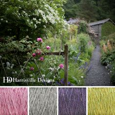 'Garden Path' color palette features Shetland yarn in Water Lily, Silver Mist, Delphinium, and Lime