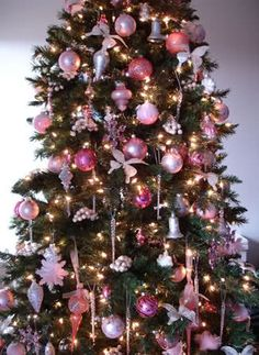Pink decorations on tree