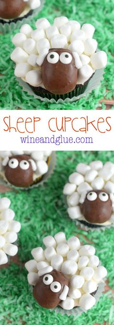 Sheep Cupcakes! Cute and unbelievably delicious!! From scratch chocolate cupcakes and vanilla buttercream! | www.wineandglue.com