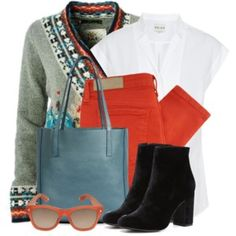 Colored Jeans & Print Cardigan