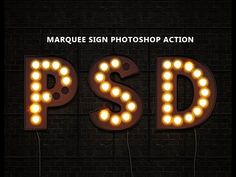 Free Photoshop, Photoshop Tutorial, Photoshop Actions, Photoshop Video, Marquee Sign, Marquee Lights, Vintage Light Bulbs, Vintage Lighting, Light Bulb Letters