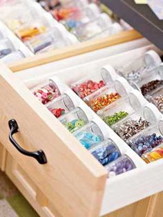 Spice-jar drawer organizer for Bead & Findings storage. Just need to find the small glass jars.