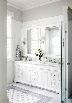 An entry from Dollface. Classic White BathroomsGray And White Bathroom  IdeasWhite Vanity BathroomWhite Master BathroomWhite Bathroom CabinetsMaster  ...