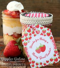 This Strawberry Shortcake in a jar is a sweet teacher appreciation gift and yummy! The perfect way to say thank you.  You can re-create this gift using Avery Printable Tags and free printable designs at avery.com/print.