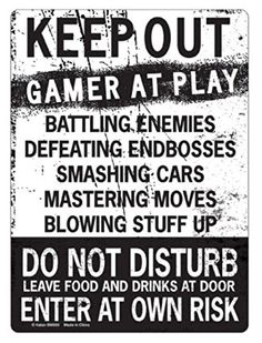 KEEP OUT Gamer At Play ENTER At Own Risk Funny Novelty Tin Sign by kalan -- Details can be found by clicking on the image.
