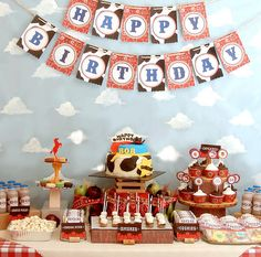 Love all the details of this cowboy birthday party. The cupcake stand is actually made from styrofoam and wood grain wrapping paper! I'm definitely stealing that idea!! -- babalisme: DIY Wild West Birthday