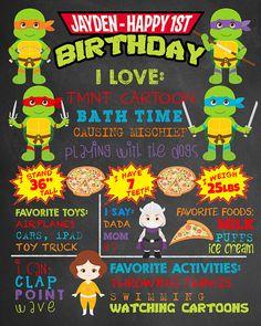 First Birthday TMNT Chalkboard Teenage Mutant Ninja Turtles Party. Boy 1st Birthday Chalk Board Custom Printable. Superhero Party Decor.