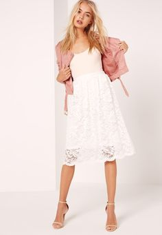 Missguided - Lace Full Midi Skirt White
