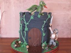 Boy's Castle Cake with knight and dragon - BakeMcCake - Beautiful and tasty cakes for West Lothian, Edinburgh and Central Scotland Knight Cake, Diabetic Cake, 5th Birthday Cake, Giant Cupcakes, Celebration Cakes, Tasty, Dragon, Google Search, Cake Ideas
