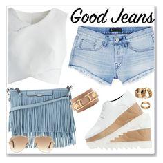 """Summer jeans"" by perlarara ❤ liked on Polyvore featuring Chicwish, 3x1, Rebecca Minkoff, Ray-Ban, STELLA McCARTNEY, Apt. 9 and Balenciaga"