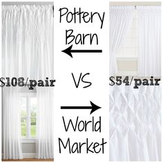 Pottery Barn Smocked Organic Drapes Retail for $54-$59 per panel vs @worldmarket White Smocked Top Cotton Curtains, Set of 2 Retails for $53.98 - $75.98