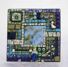 Mosaic Mirror Broken China Plates Vintage Figurines by RedCrowArts, $59.00