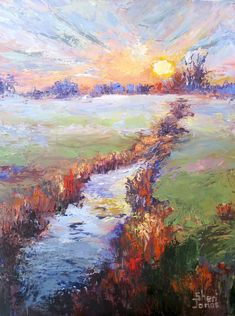Contemporary Artists of Texas: Foggy Creek View, New Contemporary Landscape Painting by Sheri Jones Contemporary Landscape, Contemporary Paintings, The Sun Also Rises, Pretty Art, Beautiful Sunset, Landscape Paintings, Oil On Canvas, Sunrise, Beautiful Pictures