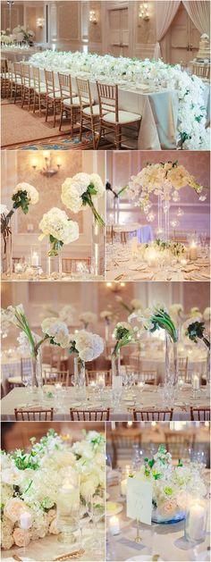 Photo: Binaryflips Photography; white color ballroom wedding reception theme