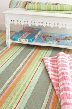 """Love this """"Stone Soup"""" cotton woven rug in this playroom. Perfection! #interiors @Dash and Albert Rug Company"""