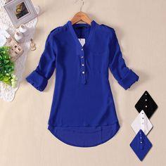 new 2013 women spring summer V-neck chiffon elegant all-match solid botton casual spirals shirt blouse white blue black s m l xl $8.50