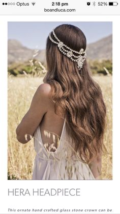 Best Ideas For Wedding Hairstyles : boho wedding ideas- jeweled hair adornments Boho Bridal Hair, Romantic Wedding Hair, Bridal Tiara, Headpiece Wedding, Bridal Headpieces, Bohemian Headpiece, Chain Headpiece, Bridal Crown, Hair Wedding
