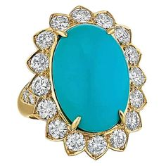 Van Cleef & Arpels Turquoise, Diamond, and Yellow Gold Ring | From a unique collection of vintage cocktail rings at http://www.1stdibs.com/jewelry/rings/cocktail-rings/