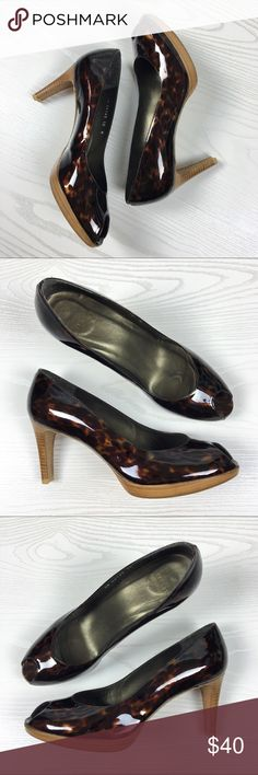 "Stuart Weitzman Tortoise Patent Peep Toe Heels STUART WEITZMAN  Woman's Size 10M  Brown Tortoise  Patent Leather  Peep Toe Pumps 3.5"" Heel Height 0.5"" Platform Gently Preowned In Good Condition. Clean And Ready To Wear. See All Pictures For More Detail  Comes From A Clean Smoke Free Home All Measurements Are Approximate Stuart Weitzman Shoes Heels"