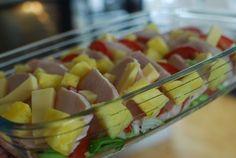 Wow sååååå gott detta blev! Detta måste ni faktiskt testa. Perfekt vardagsrätt som gör sig lika bra i matlådan. ca 4-6 port: 1 bit kassler ca 500 g 2-3 tomater 1/2 färsk ananas goudaost 1/2 purjolö…