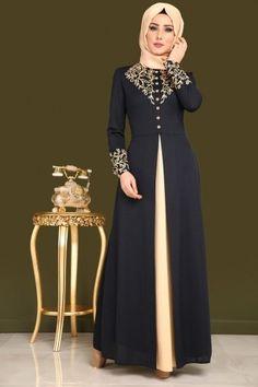 Çift Renkli Baskılı Elbise ASM2058 Laci - Thumbnail